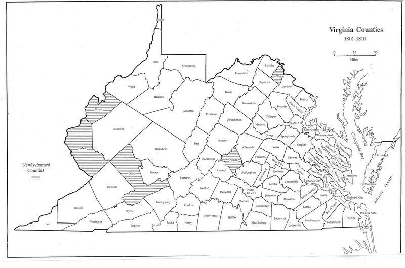 Map Of Virginia Counties 1800.Virginia Genealogy Atlas 1634 1895