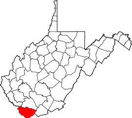Map of Va: McDowell County